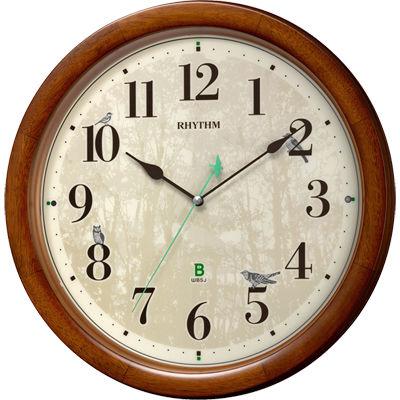 リズム時計 電波時計 掛け時計 日本野鳥の会協同開発 【野鳥の声で正時をお知らせ】 連続秒針 直径33.6cm M409(茶色半艶仕上げ) 8MN408SR06