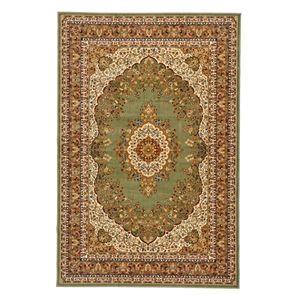 その他 クラシック調 ラグマット/絨毯 【160cm×230cm グリーン】 長方形 洗える 折りたたみ ウィルトン 『シャハリヤ』 ds-2113432