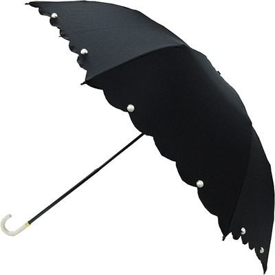 ピンクトリック 折りたたみ傘 雨晴兼用 スカラップパール ブラック 8本骨 50cm FF-03906