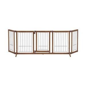 その他 犬用 ペットゲート/ペット用品 【Lサイズ】 幅140~183cm ブラウン 木製 おくだけドア付きゲート 『リッチェル』 ds-2144031
