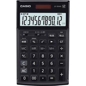 その他 カシオ 本格実務電卓 12桁ジャストタイプ ブラック JS-20WK-MBK-N 1台 ds-2136344