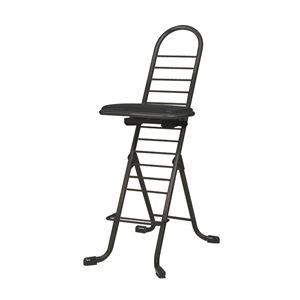 その他 シンプル 折りたたみ椅子 【ブラック×ブラック】 幅420mm 日本製 スチールパイプ 『プロワークチェア スイング』【代引不可】 ds-2154300