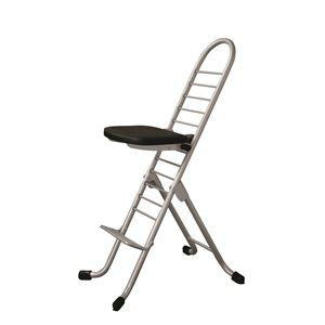 その他 シンプル 折りたたみ椅子 【ブラック×シルバー】 SH31~84cm スチールパイプ 『プロワークチェア』【代引不可】 ds-2154303