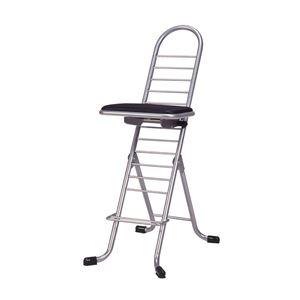 その他 シンプル 折りたたみ椅子 【ブラック×シルバー】 SH83~33cm 日本製 スチールパイプ 『プロワークチェア』【代引不可】 ds-2154305
