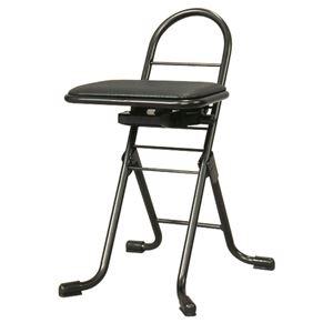 その他 シンプル 折りたたみ椅子 【ブラック×ブラック】 幅420mm 日本製 スチールパイプ 『プロワークチェア スイング ミニ』【代引不可】 ds-2154306