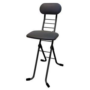 その他 折りたたみ椅子 【ブラック×ブラック】 幅35cm 日本製 スチールパイプ 【代引不可】 ds-2154323