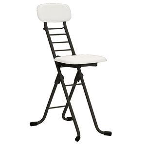 その他 折りたたみ椅子 【4脚セット ホワイト×ブラック】 幅35cm 日本製 高さ6段調節 スチールパイプ 『カラーリリィチェア』【代引不可】 ds-2154331