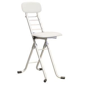 その他 折りたたみ椅子 【4脚セット ホワイト×シルバー】 幅35cm 日本製 高さ6段調節 スチールパイプ 『カラーリリィチェア』【代引不可】 ds-2154334