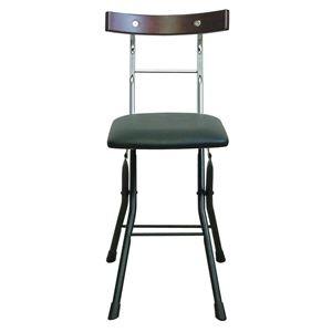 その他 折りたたみ椅子 【ブラック×ブラック+ダークブラウン】 幅36cm 日本製 スチールパイプ 【代引不可】 ds-2154345