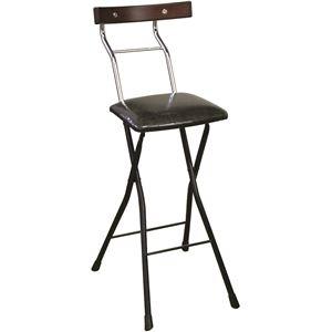 その他 折りたたみ椅子 【リザードブラック×ブラック+ダークブラウン】 幅34cm 日本製 スチールパイプ 『ロイドチェア ハイ』【代引不可】 ds-2154346