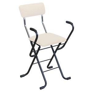 その他 折りたたみ椅子 【2脚セット ベージュ×ブラック】 幅46cm 日本製 スチール 『Jメッシュアームチェア』【代引不可】 ds-2154352