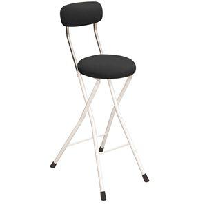 その他 円座 折りたたみ椅子 【4脚セット ブラック×ミルキーホワイト】 幅36cm 日本製 スチール 『ラウンドクッションチェアハイ』【代引不可】 ds-2154370