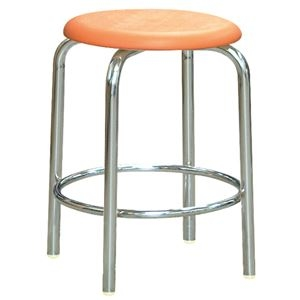 その他 スツール/丸椅子 【内リング付き 同色2脚セット オレンジ×クロームメッキ】 幅37.8cm 日本製 『ラウンドスツール』【代引不可】 ds-2154467