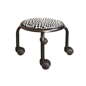 その他 スタッキングチェア/丸椅子 【同色4脚セット モザイクチェック×ブラック】 幅32cm 日本製 『ローキャスター ボン アート』【代引不可】 ds-2154498