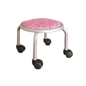 その他 スタッキングチェア/丸椅子 【同色4脚セット ローズ×シルバー】 幅32cm 日本製 【代引不可】 ds-2154499