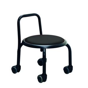その他 スタッキングチェア/丸椅子 【同色3脚セット ブラック×ブラック】 幅32cm スチールパイプ 『背付ローキャスターチェア ボン』【代引不可】 ds-2154501