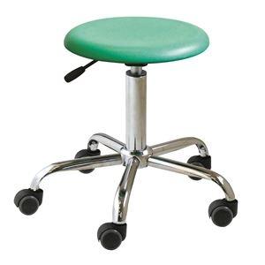 その他 キャスター付き 丸椅子 【グリーン×クロームメッキ】 幅50cm 日本製 スチール 『ブランチブロースツール』【代引不可】 ds-2154534