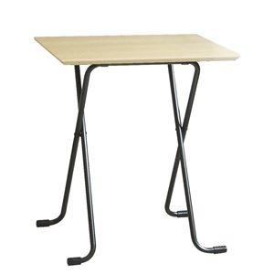 その他 折りたたみテーブル 【角型 ナチュラル×ブラック】 幅60cm 日本製 木製 スチールパイプ 〔ダイニング リビング〕【代引不可】 ds-2154562