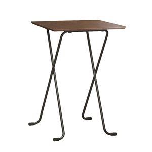 その他 折りたたみハイテーブル 【角型 ダークブラウン×ブラック】 幅60cm 日本製 木製 スチールパイプ 〔ダイニング リビング〕 ds-2154572