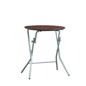 その他 折りたたみテーブル 【幅63.5cm 円形 ダークブラウン×シルバー】 日本製 木製 スチールパイプ 『スタンドタッチテーブル60』【代引不可】 ds-2154593