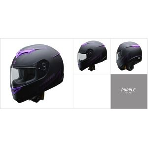 その他 人気のマットブラック ZIONE(ジオーネ) フルフェイスヘルメット パープル Mサイズ ds-2149948