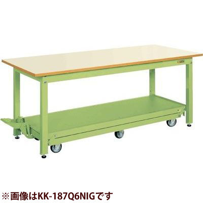 サカエ 軽量作業台KKタイプ(ペダル昇降移動式) (サカエグリーン) KK-157Q6NIG