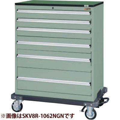 サカエ キャビネットワゴンSKVタイプ (グリーングレー) SKV8R-1072NGN