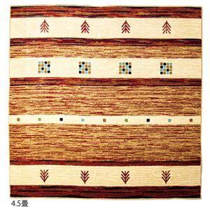その他 ギャベ柄 ラグマット/絨毯 【3畳 レッド】 長方形 消臭機能付き ウィルトン織 〔リビング ダイニング〕 ds-2160650