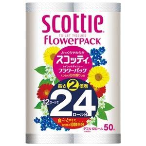 その他 (まとめ) 日本製紙クレシア スコッティフラワー2倍巻き W 12ロール×4P【×3セット】 ds-2157825