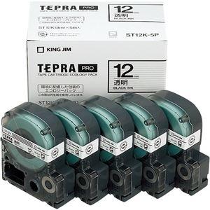その他 (まとめ) キングジム PROテープ ST12K-5P 透明に黒文字12mm 5個【×3セット】 ds-2159844