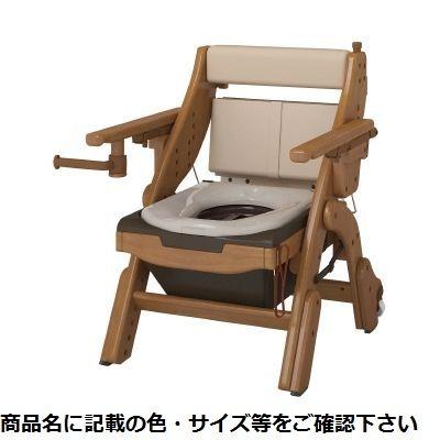 アロン化成 折りたたみ家具調トイレ(キャスター付 533-832(ヒョウジュンベンザ 24-6666-00【納期目安:1週間】