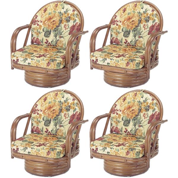 今枝商店 Romantic Rattan 回転座椅子(ミドル)【4脚組/沖縄・離島配達不可】 Z4S542B