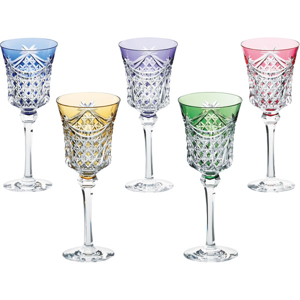 その他 KAGAMI 江戸切子 ワイングラス5客セット(包装・のし可) 4940007083049【納期目安:1週間】