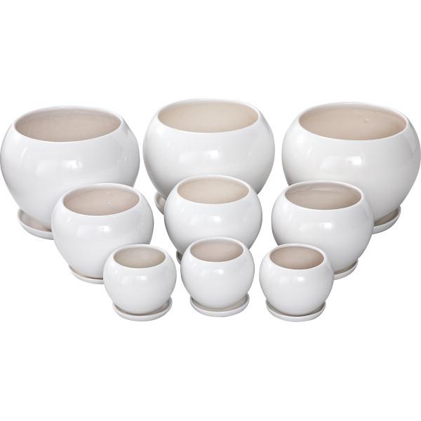 その他 陶器植木鉢9点セット(受皿付) ホワイト 4560159748834【納期目安:1週間】