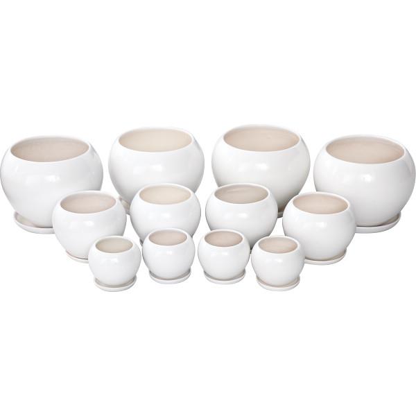 その他 陶器植木鉢12点セット(受皿付) ホワイト 4560159748858【納期目安:1週間】