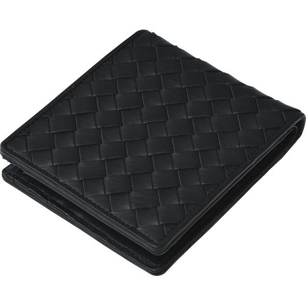その他 良品工房 日本製牛革編込二折れ財布 黒 (包装・のし可) 4560286935978【納期目安:1週間】