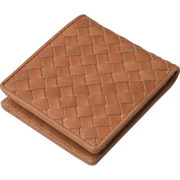 その他 良品工房 日本製牛革編込二折れ財布 キャメル (包装・のし可) 4560286936821【納期目安:1週間】