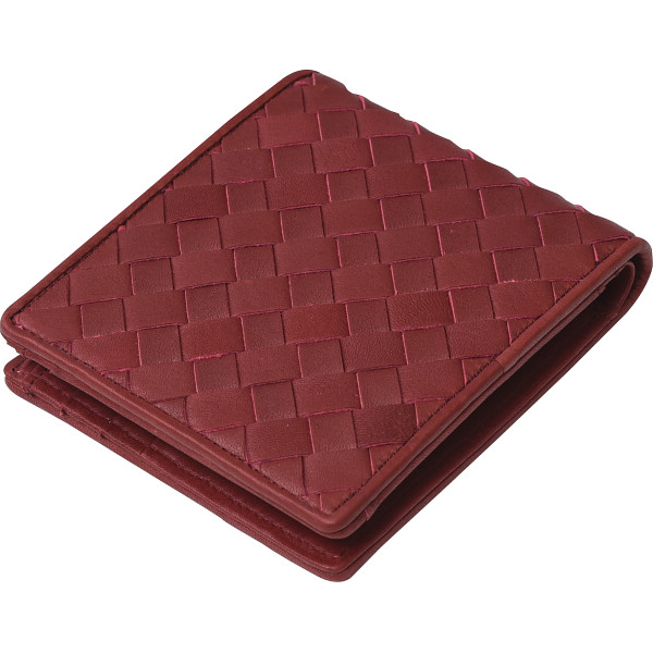 その他 良品工房 日本製牛革編込二折れ財布 赤 (包装・のし可) 4560286936838