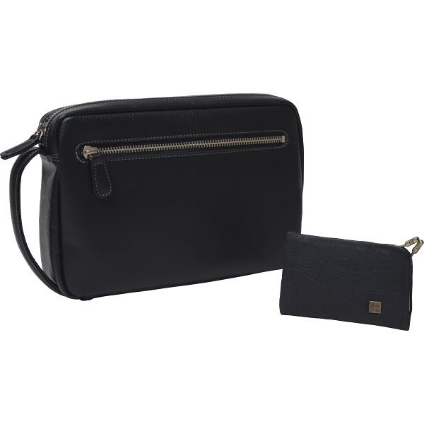 その他 日本製 牛革セカンドバッグ・カードケースセット ブラック (包装・のし可) 4560286934995【納期目安:1週間】