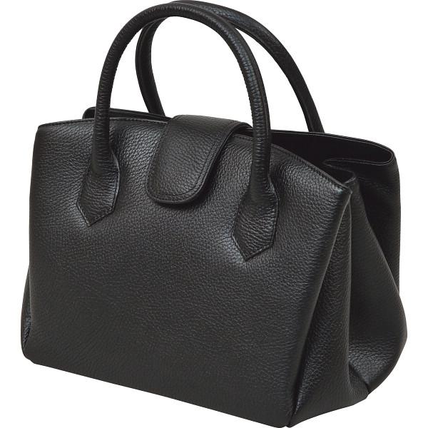 その他 良品工房 日本製牛革 ジャバラ式手提バッグ ブラック (包装・のし可) 4560286935695【納期目安:1週間】