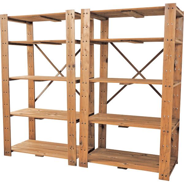 その他 木製ラック5段2個組 ブラウン 4511412989808【納期目安:1週間】