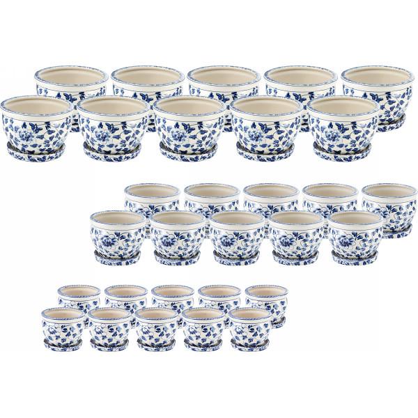 その他 陶器植木鉢30点セット(受皿付) 白・青 花柄 2438130000023【納期目安:1週間】