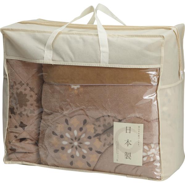 その他 日本製 吸湿発熱わた入りやわらかタッチ毛布ふとん&敷パットセット(包装・のし可) 4530807054556【納期目安:1週間】