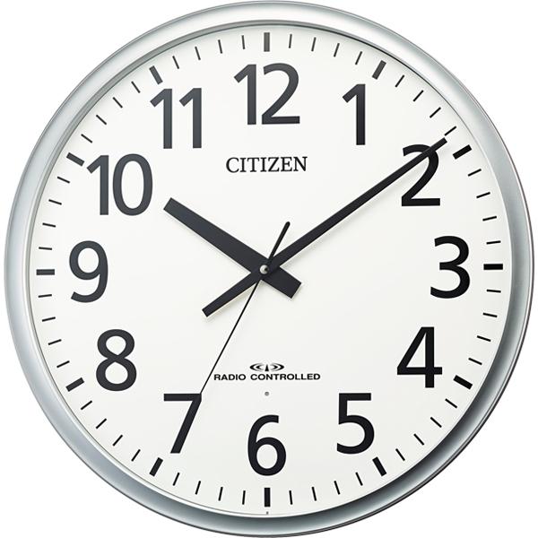 リズム時計 シチズン 電波時計 掛け時計 大型 飛散防止処理風防ガラス 連続秒針 直径50cm (シルバーメタリック) 8MY547-019