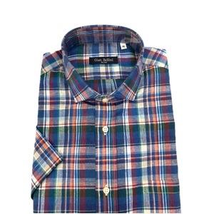 その他 人気 イタリア製ファクトリー コットン&リネン半袖シャツ ブルー Mサイズ ds-2186449