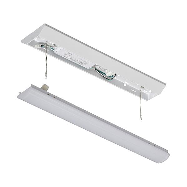 オーム電機 LEDベースライト【ランプ(20形相当/3200lm/昼光色)】+【照明器具(引き紐無し)】セット LT-BL203D+LT-BBV20153