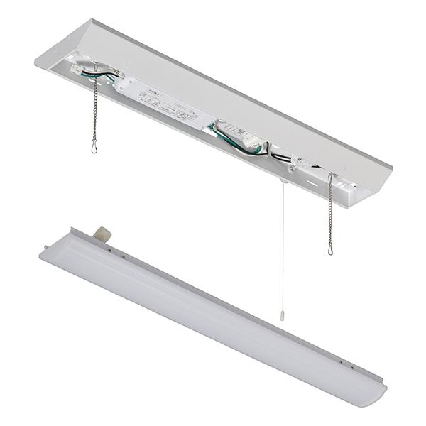 オーム電機 LEDベースライト【ランプ(20形相当/3200lm/昼白色)】+【照明器具(引き紐付き)】セット LT-BL203N+LT-BBV20153P