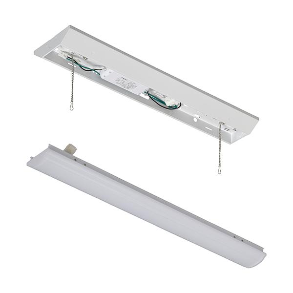 オーム電機 LEDベースライト【ランプ(20形相当/1600lm/昼白色)】+【照明器具(引き紐無し)】セット LT-BL201N+LT-BBV20151