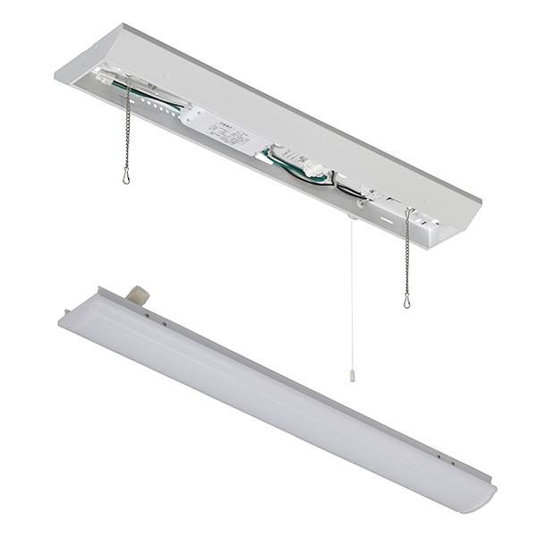 オーム電機 LEDベースライト【ランプ(20形相当/1600lm/昼白色)】+【照明器具(引き紐付き)】セット LT-BL201N+LT-BBV20151P