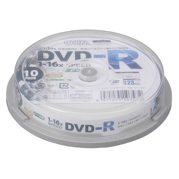 送料無料 オーム電機 DVD-Rデータ用 16倍速 10P スピンドル入り 希少 爆安プライス PC-M16XDRD10S